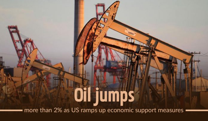 Oil jumped more than 2% as US increased economic support measures