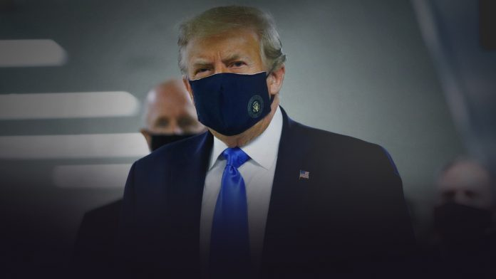 Trump, on Twitter, posted a pic of himself covering his face with the mask
