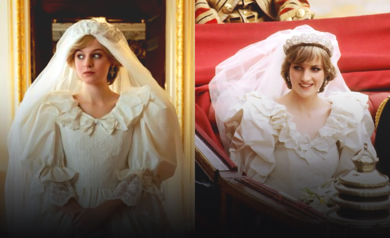 The Crown shares glimpse of Emma Corrin in Diana's Wedding Dress