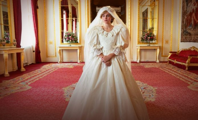 The Crown tweets glimpse of Emma Corrin in Diana's Wedding Dress